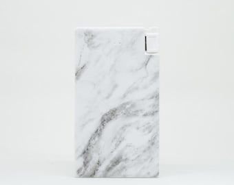 Charger with Marble Pattern, Slim Portable Powerbank 4000 mAh with built-in Lightning & Micro USB cable for Apple, Android and Most Devices