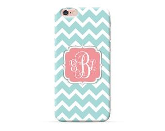 iPhone 7 case monogram, iPhone 7 plus case, iPhone 6 case , iPhone 6s Case, iPhone 6 plus case, Personalized iPhone Cases turquoise chevron