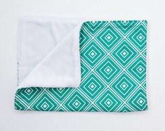 Burp Cloth - Green Burp Cloth - Baby Gift - Modern Burp Cloth - Diamond Burp Cloth
