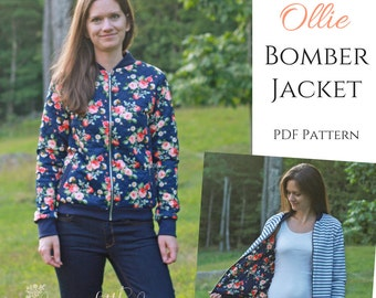 Women's Ollie Bomber Jacket PDF Sewing Pattern