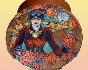 Steampunk decorated large round box