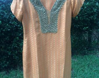 Orange and gold brocade Indian churidar suit top, salwar kameez top, kurta, kurti, tunic, dress