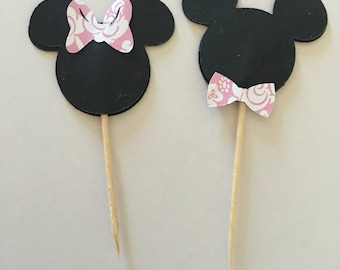 Mickey and Minnie Mouse cupcake toppers