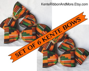 """Set of 6 KENTE BOWS with Braided Natural Jute Center - 4.5"""" x 2.5"""" - Includes gold attachment wire - Made to order"""