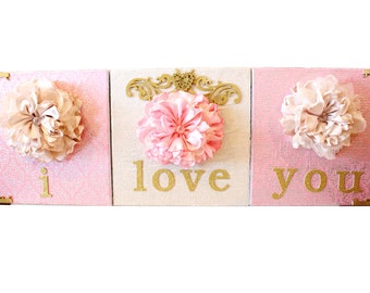"3 piece ""I love you"" 3D flower canvas"