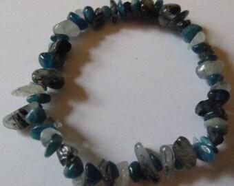 Blue Apatite & Tourmaline in Quartz Healing Crystal Elasticated Bracelet