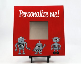 Customizable Hand Painted Robot Mirror, Kids Room, Babies Room, Girls Room, Boys Room, Nursery, Decor, Art