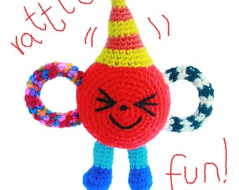 Unique Red Lovely Infant Amigurumi Handmade Crochet Interactive Plush Safe Soft Toy Rattle Smiley Friend