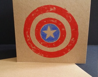 Captain America-inspired hand printed lino cut card 6 x 6""