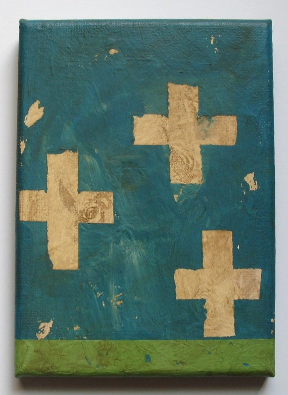 "trust-original primitive folk art/outsider art painting-5"" x 7"" ready to hang"
