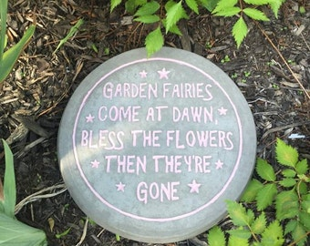 12 Inch Round Hand Painted Concrete Fairy Quote Stepping Stone
