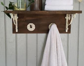 Wooden Bathroom Shelf, Towel Rack