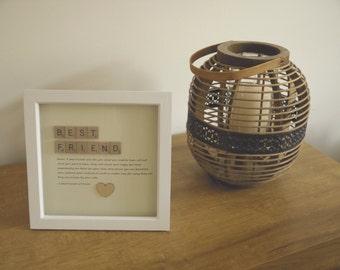 Handmade Best Friend Quote Gift Frame