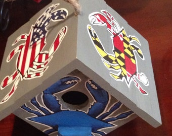 Hand Painted Maryland crab birdhouse.