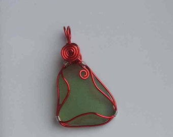 Green Sea Glass Pendant wirewrapped in red. More Boho Chic Style!
