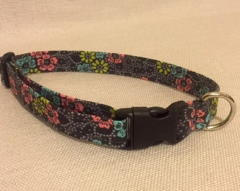 Grey Floral Dog Collar