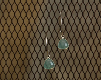 Aqua Chalcedony & Sterling silver earrings