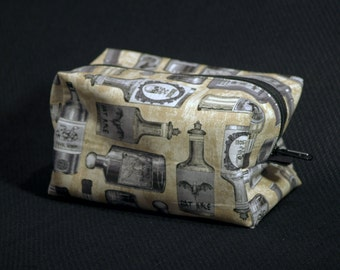 Apothecary Potions Zippered Boxy Pouch / Tan Makeup Bag / Travel Bag / Cosmetic Bag / Bag Organizer / Halloween / Goth Accessory