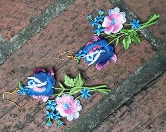 Blue Boho Lace Earrings, Floral Lace Earrings, Boho Earrings, Blue and Pink Floral Earrings, Statement Earrings,  Gifts for her, Women Gifts