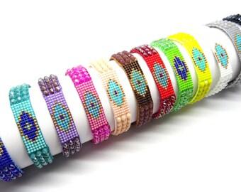 Evil eye peyote bracelet, friendship evil eye bracelet, beaded evil eye bracelet, bohemian evil eye bracelet, evil eye jewelry