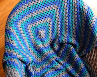 Medium handmade blue, green and grey super soft crochet granny throw
