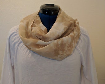 White and Tan Tie Dye - Infinity Scarf