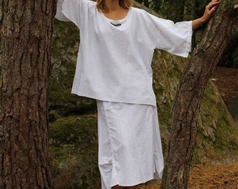 SKIRT linen white, the small size 42 to the largest size 48