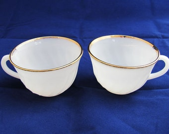 Set of 2 Vintage Fire King 22k Gold Trim Tea Cups, Milk Glass White Swirl, Oven Proof, NEVER USED
