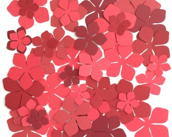 50 Flower Assorted Sizes Shades of Red Paper Crafts