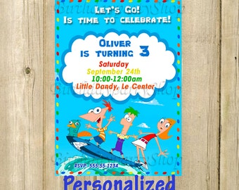 Phineas and Ferb Invitation - Phineas and Ferb Birthday Invite - Personalized, Digital File