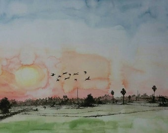 Original water color painting A4size
