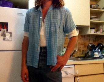 1950s Blue Checked Shirt