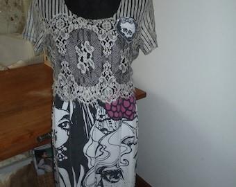 Dress summer Upcycling spring Gr.S/M boho Gothic manga vintage of lace CoeursDeCaschel
