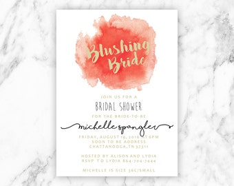 Lingerie Shower Invitation | Blushing Bride | Digital File