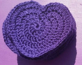 Dark Purple Heart Coaster