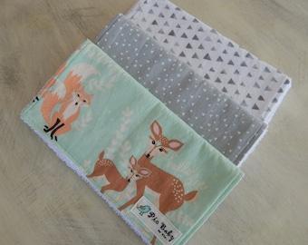 Baby Burp Cloths, Set of 3 burp cloths, Woodland burp cloths, Gender neutral burp cloths, Baby shower gift