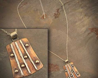 Dots & Stripes - Copper and Sterling Silver necklace