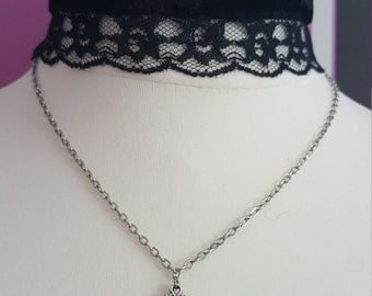 Velvet Choker with Lace trimming and Charm