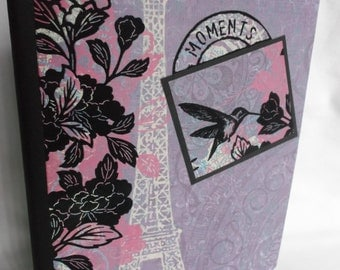 Altered Composition Book, Eiffel Tower, hummingbird,