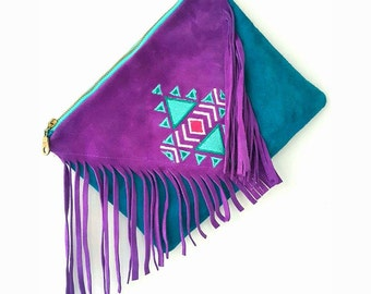 suede handbag,leather handbag,suede clucht,boho handbag,fringe bag,ebroidery bag,handmade,leather bag