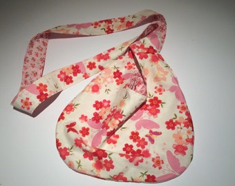 Japanese knot bag floral and butterflies