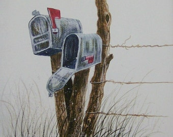 Country Mailboxes, Realistic watercolor painting