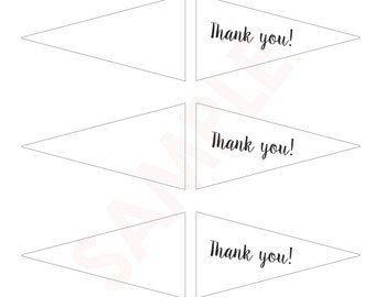 Thank You Flags - Wedding, Birthday + Party Favors - Instant Download