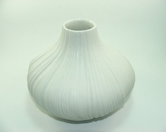 60s Rosenthal unglazed bisque white vase onion formed Martin Freyer Germany