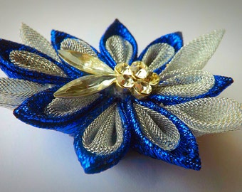 Brooch|| Blue Silver Flower Kanzashi||Accessories|| Brooch made in the technique of kanzashi