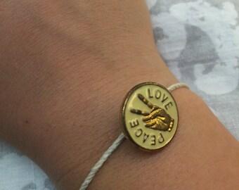 Hippie peace & love bracelet