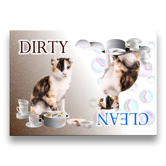 American Curl Cat Clean Dirty Dishwasher Magnet No 1