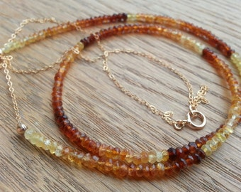 Hessonite Garnet delicate necklace - in Sterling Silver or Gold Filled - ideal for layering