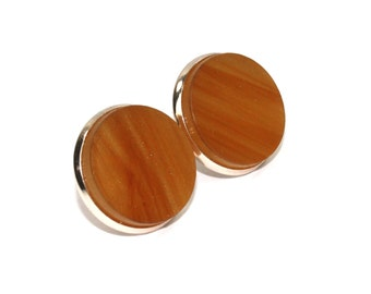 Caramel Marble & Rose Gold Circle Stud Earrings