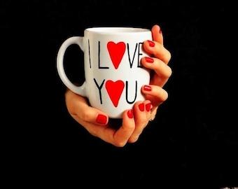 Big Handpainted Mug, Big White Coffee Mug, Coffee Mug, White Coffee Mug, Coffee Mug for Friend, Love Mug, Big Tea Mug - I Love You